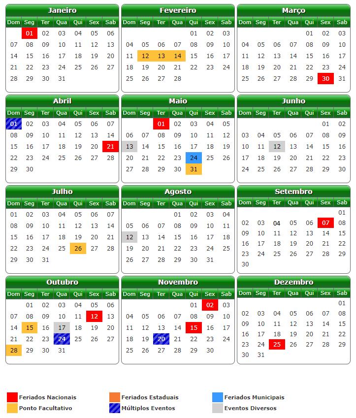 feriados de 2018 em Goiânia