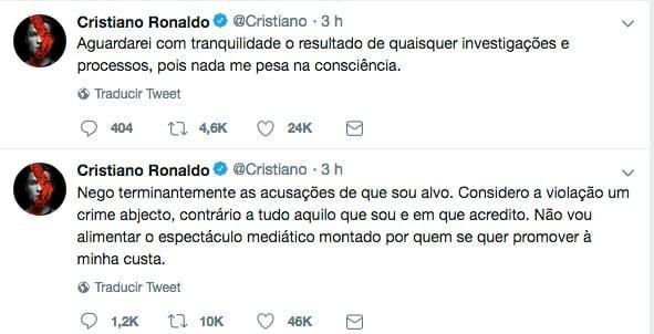 Cristiano Ronaldo usa redes sociais para negar acusação de estupro