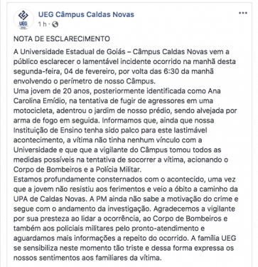 Jovem morta na UEG de Caldas Novas encomendou drogas do assassino