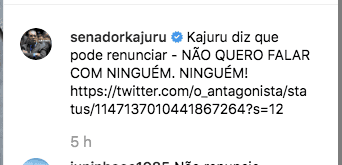 Senador Jorge Kajuru diz no Twitter que cogita renunciar