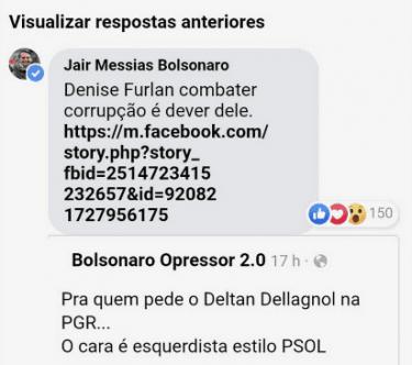 Página de Bolsonaro compartilha post sobre Dallagnol chamando-o de 'esquerdista estilo PSOL'