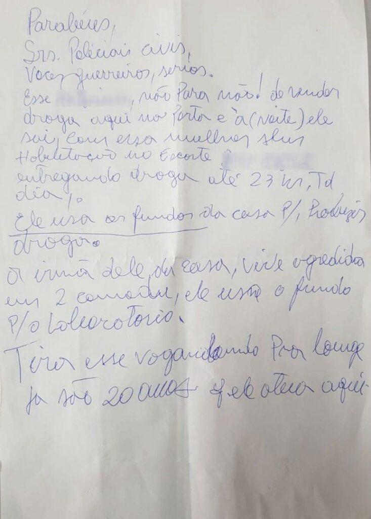 Em ação contra tráfico de drogas, morador agradece PC em carta anônima