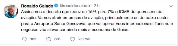Para atrair empresas de aviação a Goiás, Caiado assina redução do ICMS do querosene