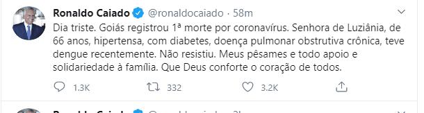 """Caiado lamenta primeira morte por coronavírus em Goiás: """"Dia triste"""""""