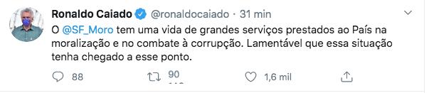 Caiado se manifesta sobre demissão de Moro e elogia ex-ministro